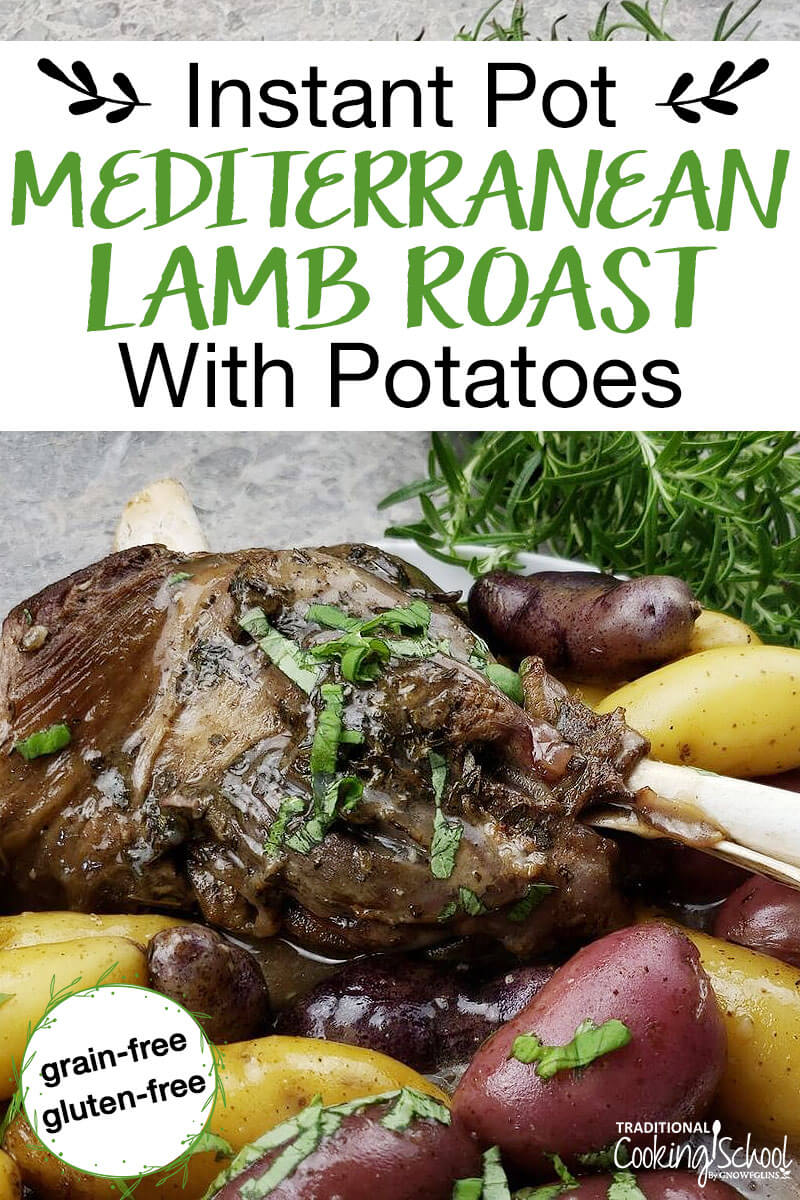 photo collage of lamb roast sprinkled with spices and potatoes