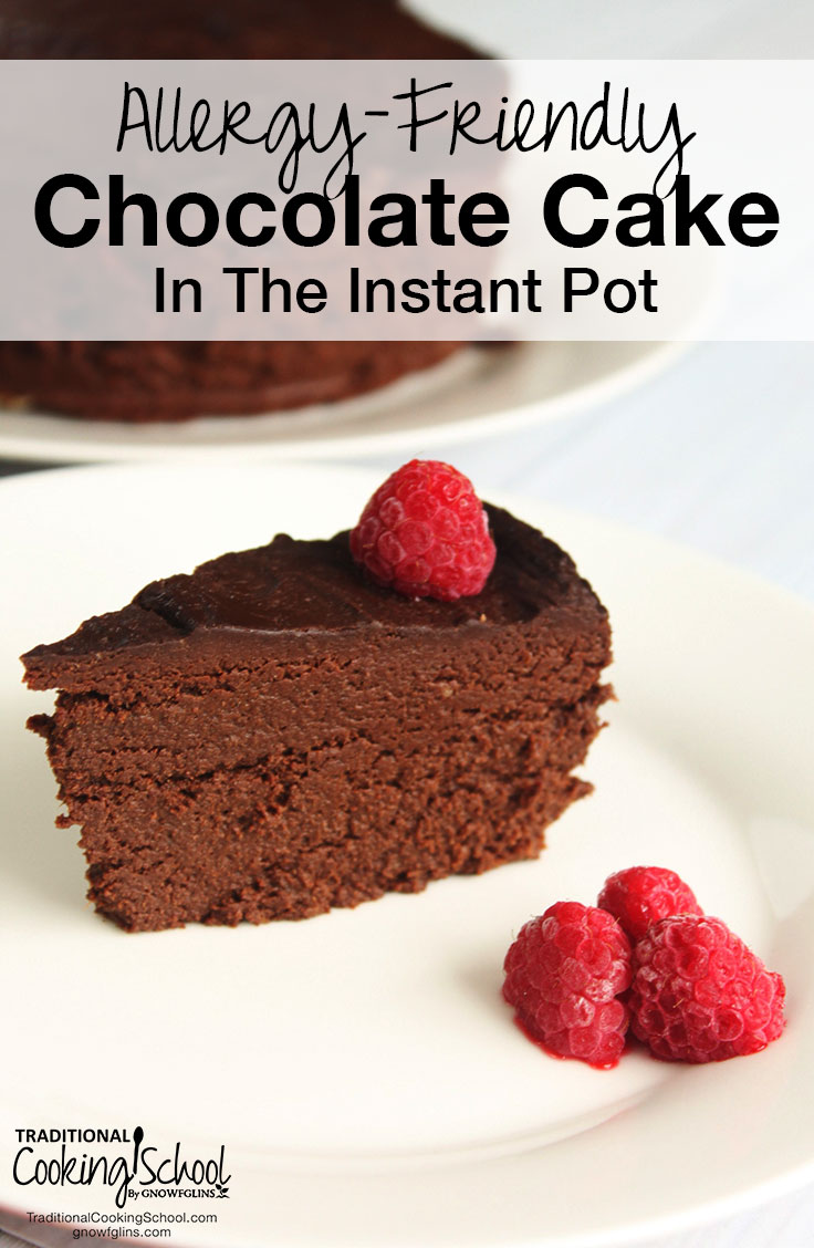 Allergy-Friendly Chocolate Cake In The Instant Pot | Are you looking for a chocolate cake free of eggs, nuts, dairy, and gluten? How about a cake made without refined sugar or flour? This rich, fudge-y cake is just the recipe you've been looking for! And, from melting chocolate to baking the cake -- everything can be done right in the Instant Pot! No extra dishes to wash, and no need to turn on the oven. | TraditionalCookingSchool.com