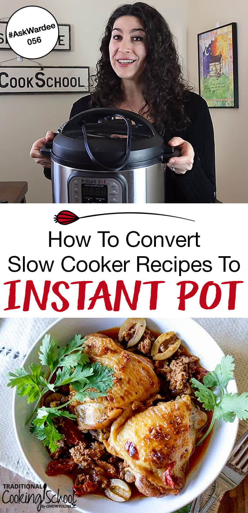 It is possible to take your favorite, hands-off slow cooker recipes and adapt them for your pressure cooker or Instant Pot. Watch, listen, or read for my 9 tips to convert slow cooker recipes into pressure cooker recipes! | AskWardee.tv