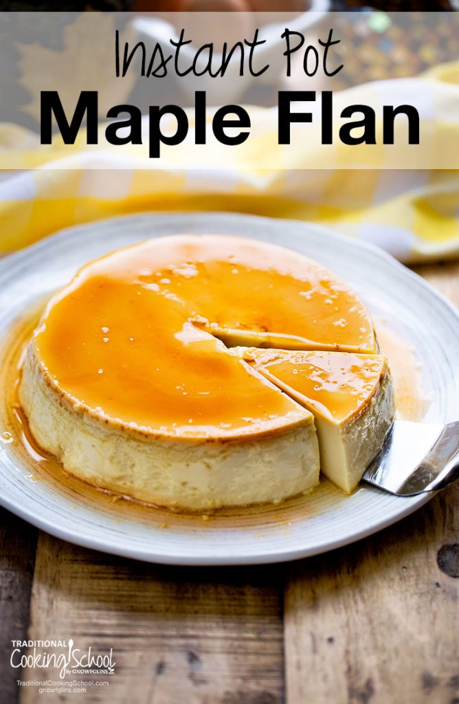 luscious maple flan on a plate with a slice being removed