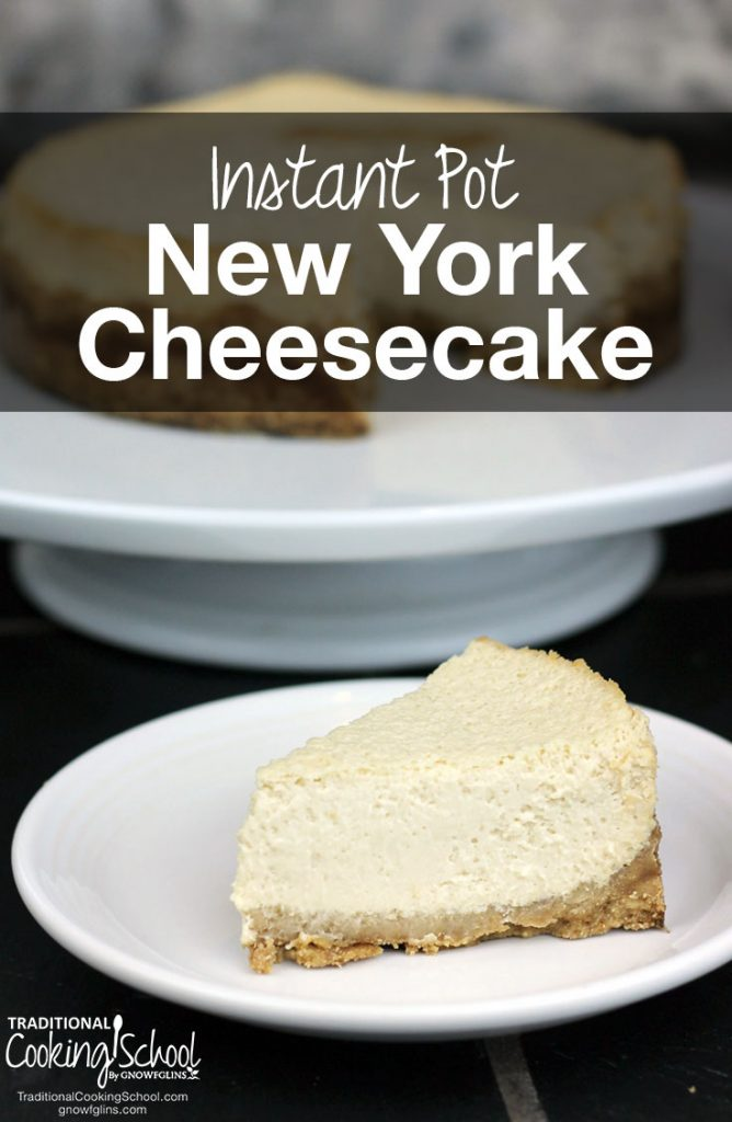 new york cheesecake on a white plate with text overlay