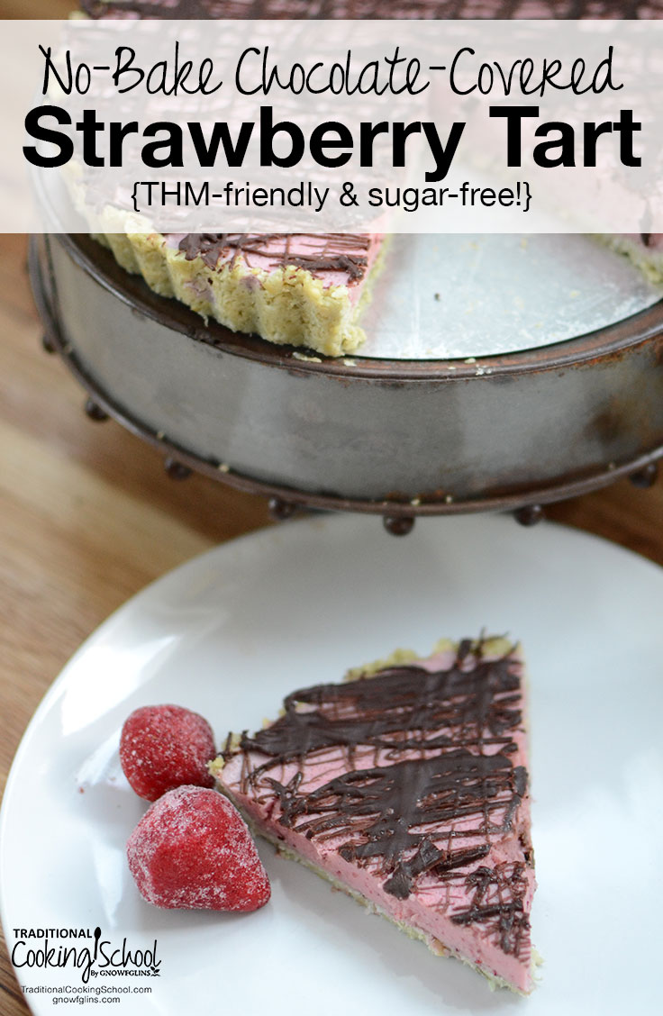 No-Bake Chocolate-Covered Strawberry Tart {THM-friendly & sugar-free!} | With no dairy, gluten, grains, nuts, eggs, soy, or sugar, this no-bake tart is as full of flavor as it is beauty. I promise you won't miss a thing -- especially the bloat or the blood sugar spike. Trim Healthy Mamas, you can have this, too! | TraditionalCookingSchool.com