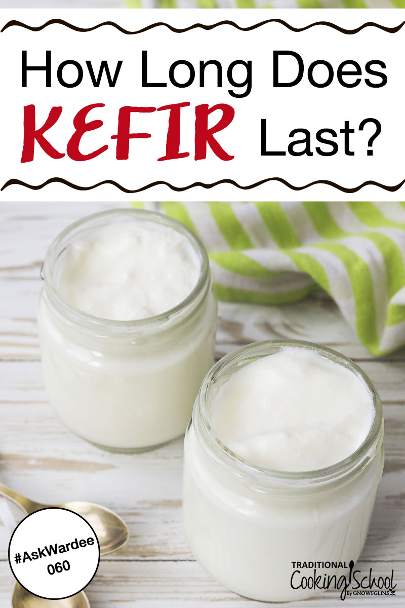 Glass of milk kefir on a table with striped towel in the background and text overlay.