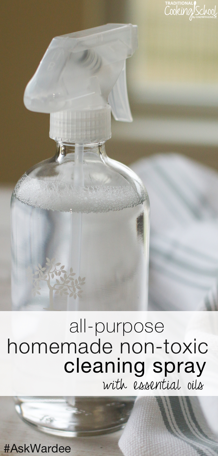 Bethany needs an easy and natural non-toxic cleaning spray recipe that won't irritate sensitive skin. I've got one for her -- we've been using it for 15 years! Watch, listen, or read for my homemade, all-purpose cleaning spray with essential oils! | AskWardee.tv