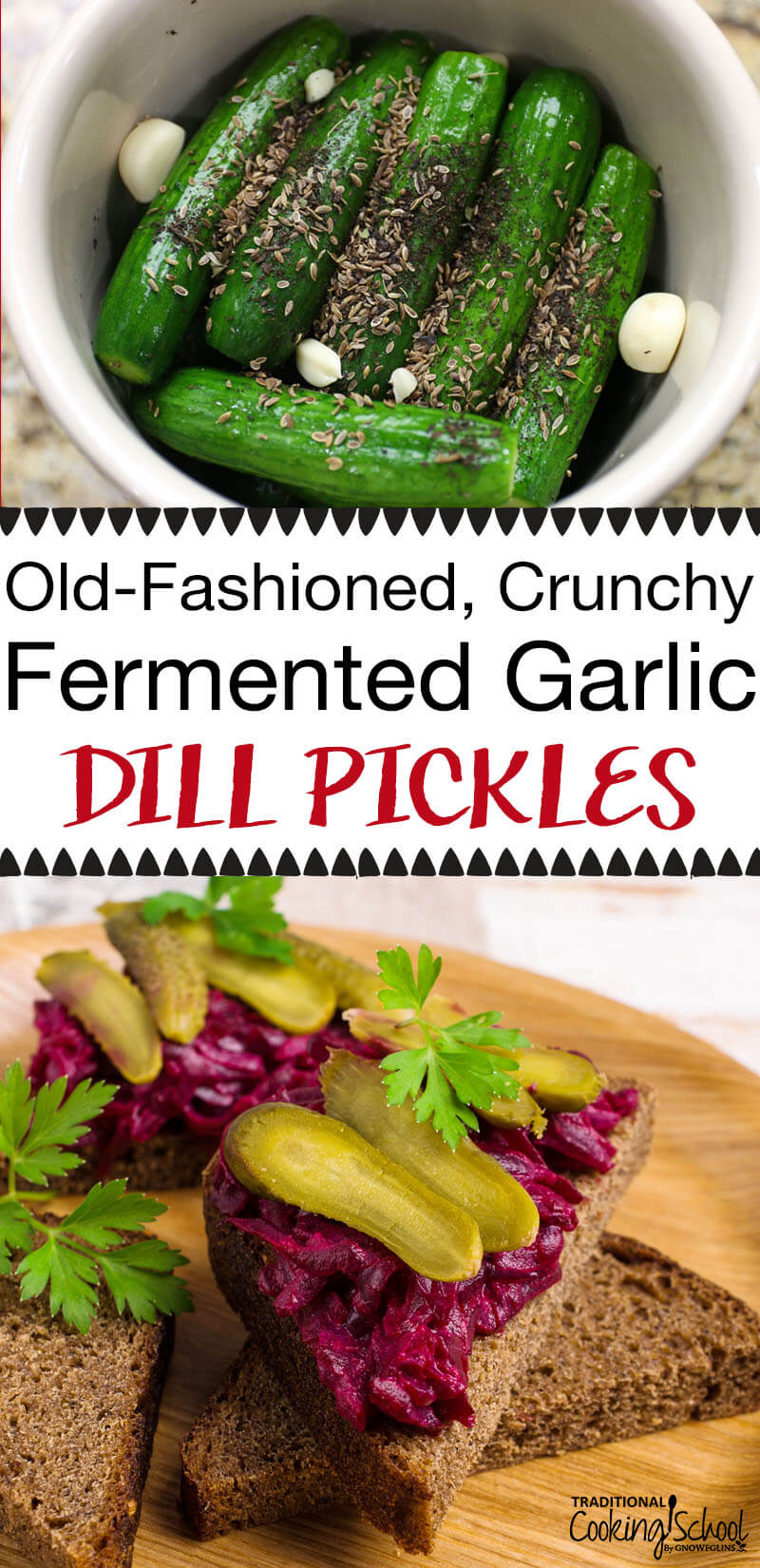 These are NOT the vinegar pickles you find in the store! Once pickled, there's an explosion of vitamins, enzymes, probiotics, beneficial acids, and most importantly... a delicious crunch! And I make them in one of my favorite kitchen tools -- a fermenting crock from Ohio Stoneware!