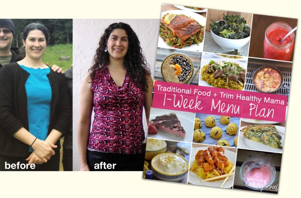 Before and after weightloss photos of a woman with image of a 1 week meal plan for Trim Healthy Mama.