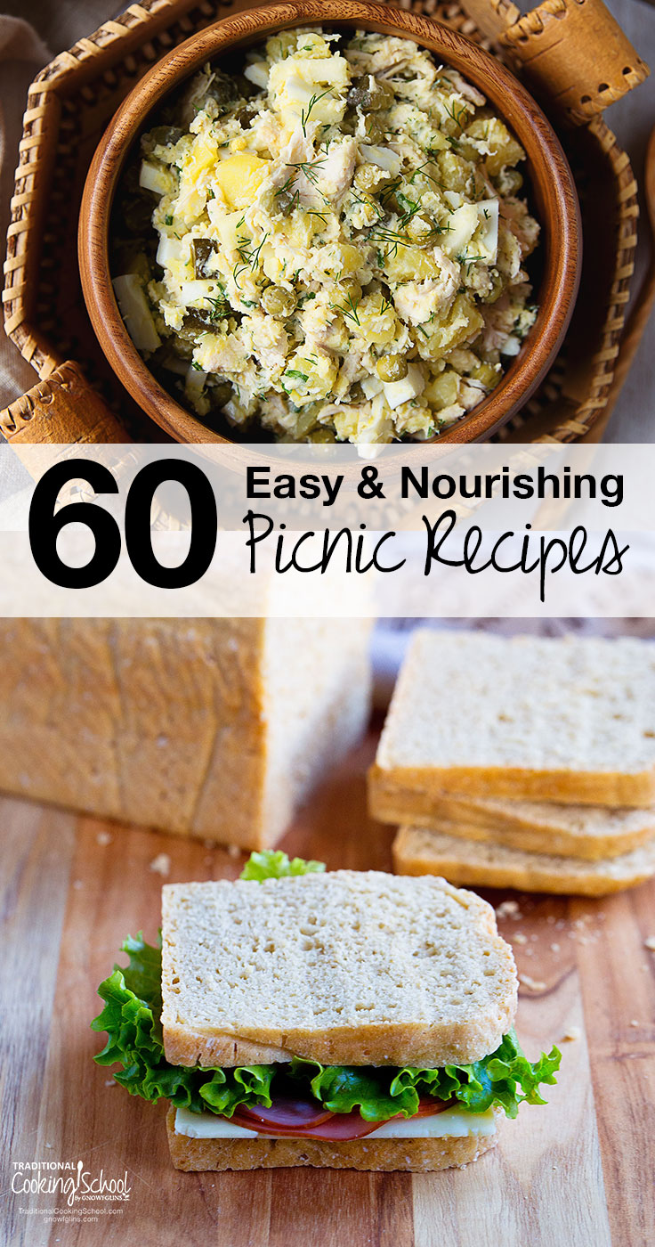 """Two images: Potato salad in a brown crock and a sandwich with lunch meat and lettuce sitting on a cutting board. Text overlay says, """"60 Easy and Nourishing Picnic Recipes"""""""
