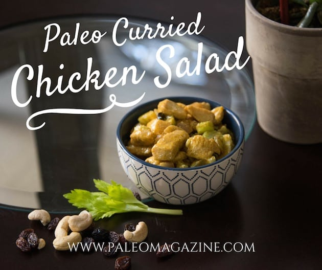 Chicken salad in white crock with gray background and white text overlay