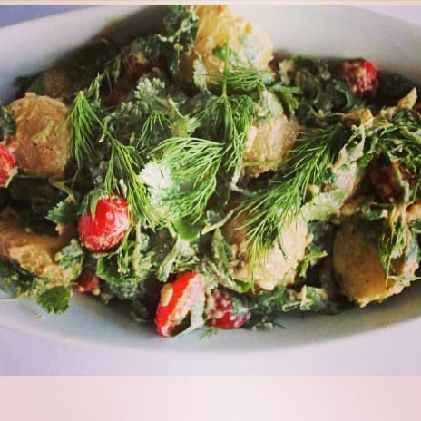 Potato salad on white plate