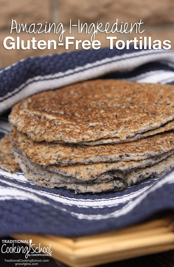 Tortillas on blue towel with white text overlay