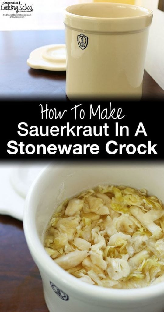 Crocks full of sauerkraut on table with white text overlay