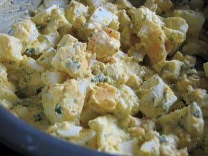 Potato salad in blue crock