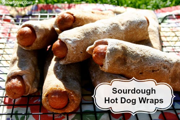 Hot dogs rolled in bread on wire rack with black text overlay