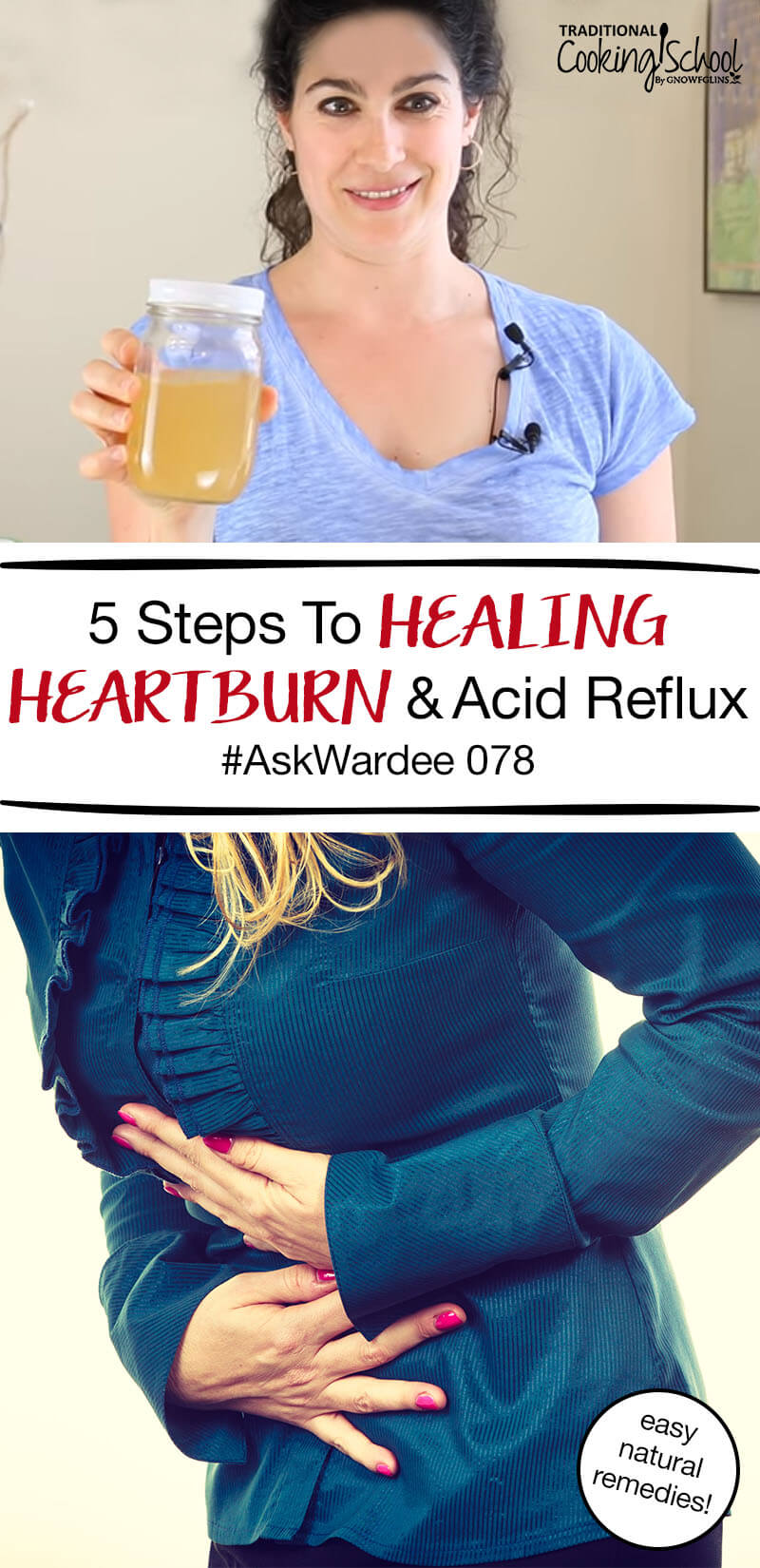 Is heartburn or acid reflux making eating (or even just living) difficult? Are you tired of managing heartburn with prescriptions that don't actually heal? Watch, listen, or read for my 5 steps to healing heartburn and acid reflux through diet, lifestyle, and natural remedies! | AskWardee.tv