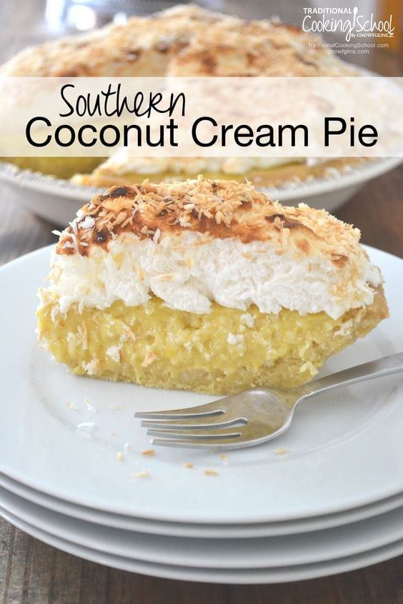 Coconut cream pie on a white plate with fork and black text overlay