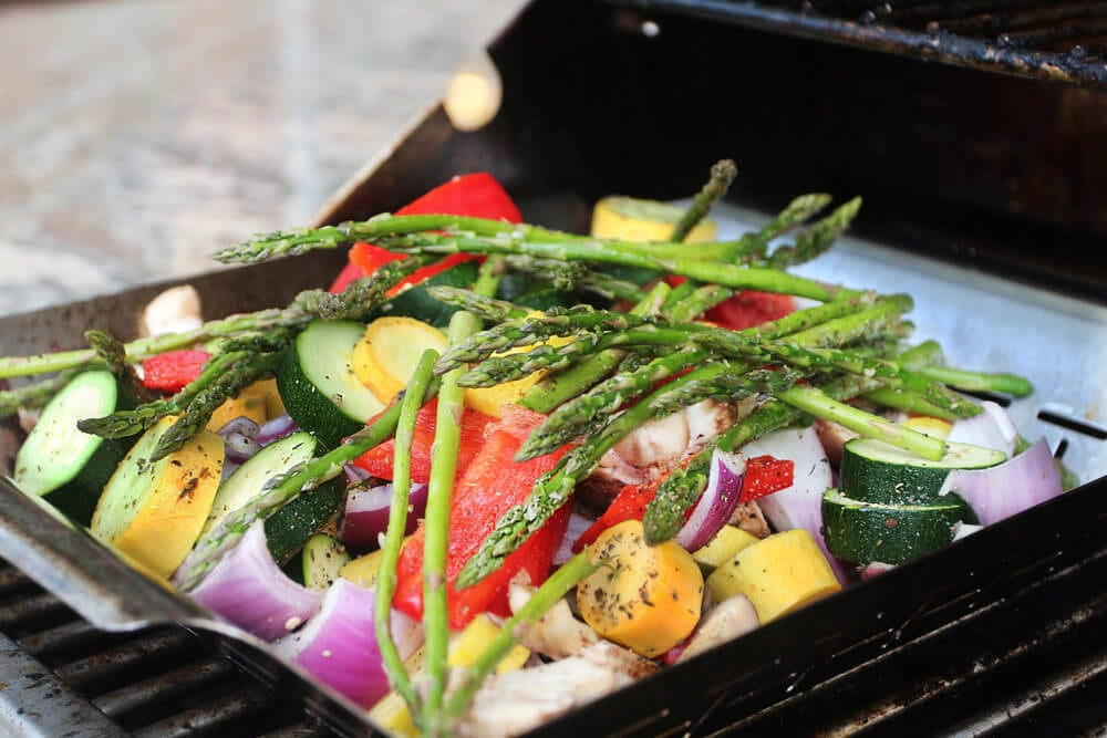Kitchen sink garden vegetables asparagus, onions, zucchini on the grill
