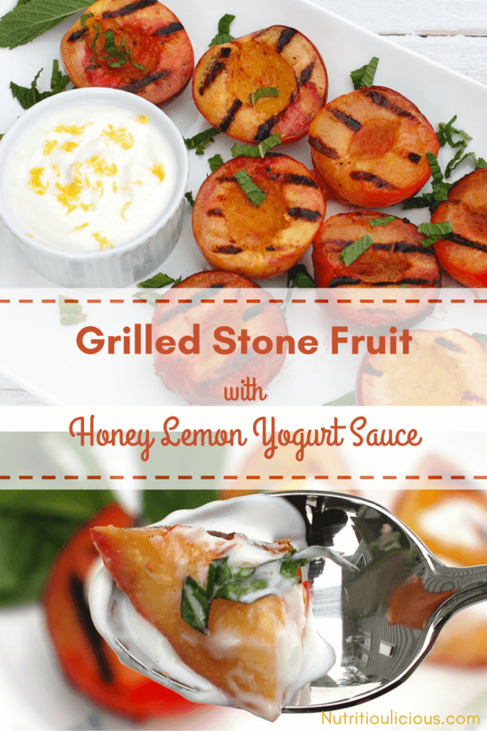 Grilled fruit with yogurt sauce on white plate and spoon with orange text overlay