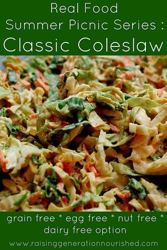 Classic coleslaw with green boarder and white text overlay