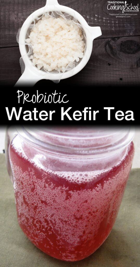 Kefir in white crock and kefir tea in mason jar with white text overlay