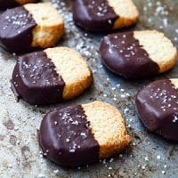 When you're on a healing or weight loss journey, it's very important emotionally to have sweet treats. These Chocolate-Dipped Shortbread Cookies fit the bill! They're allergy-friendly, grain-free, gluten-free, low-carb, and THM:S! | TraditionalCookingSchool.com
