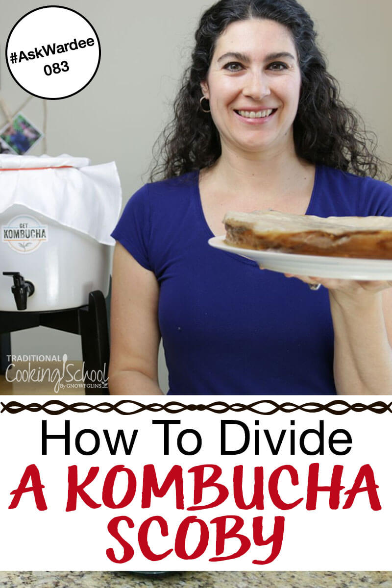 Woman holding a plate with a SCOBY on it and a crock of kombucha in the background with text overlay.