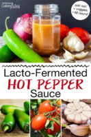 "Photo collage of tomatoes, garlic, hot peppers, and homemade hot sauce in a small jar. Text overlay says: ""Lacto-Fermented Hot Pepper Sauce (just salt + veggies + 48 hours!)"""