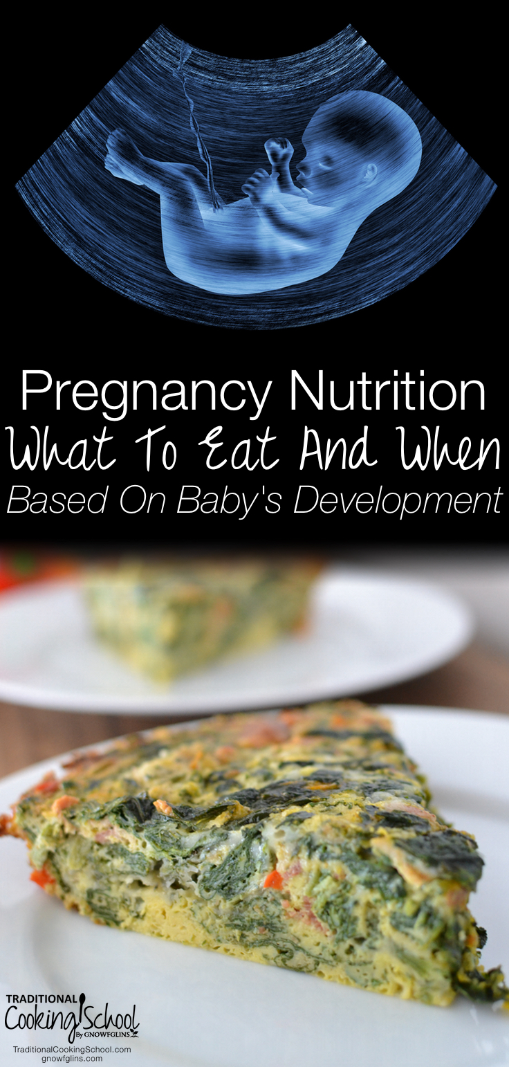Pregnancy Nutrition: What To Eat & When Based On Baby's Development | Get a trimester-by-trimester snapshot of how your baby is growing during pregnancy (hint: there's a LOT happening in a short time!). With all that's going on, you'll want to nourish your body and baby's body with nutrient-dense foods, right? Learn what to eat and when based on baby's development so you can get ideal nutrition during your pregnancy. | TraditionalCookingSchool.com