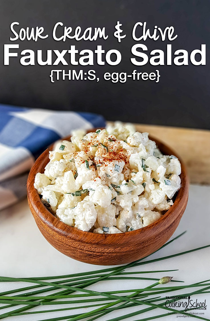 If potlucks feel like Russian roulette to you, come prepared with this simple, flavorful, egg-free Sour Cream and Chive Fauxtato Salad! It's perfect for those with food sensitivities and Trim Healthy Mamas who want to stay on plan wherever they are!