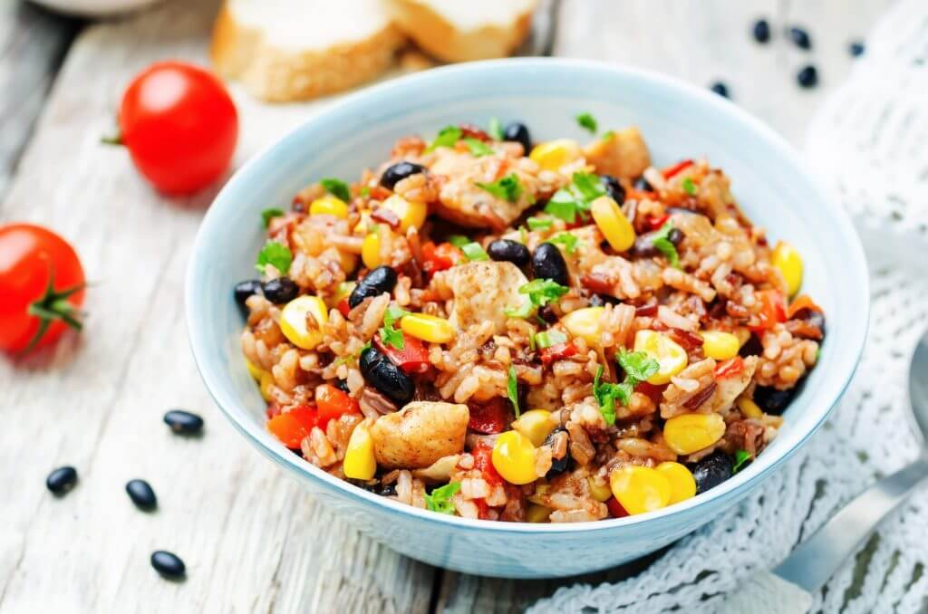 colorful rice with black beans and corn