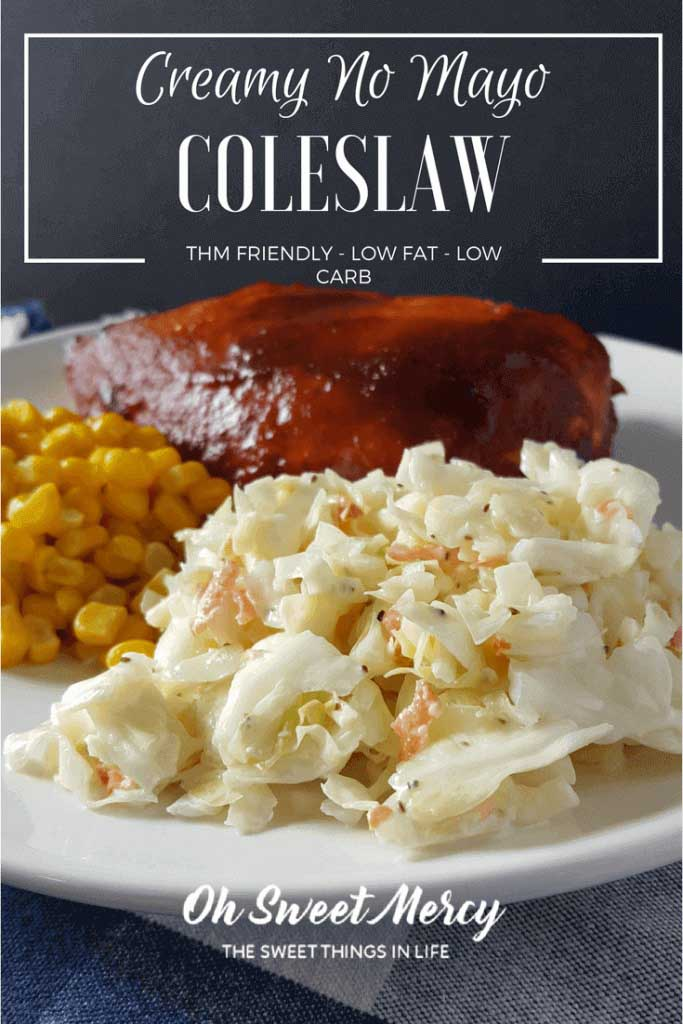 cole slaw on white plate with corn and bbq chicken