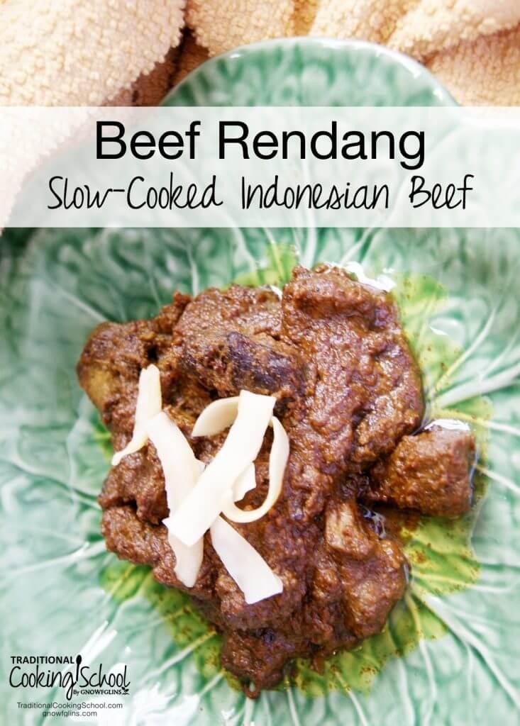 beef rendang on green plate