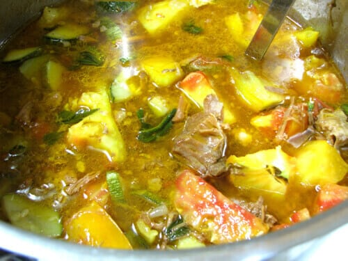 pot of beef and vegetable stew