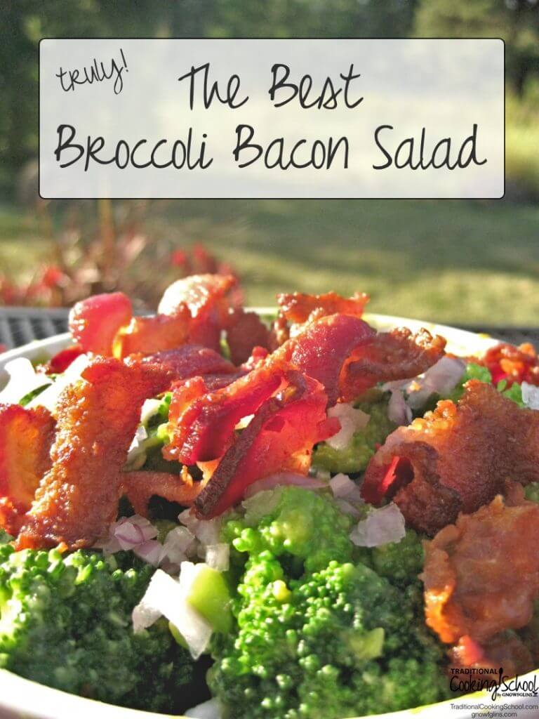bowl of broccoli and bacon