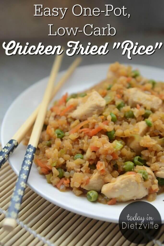 chicken fried rice with chopsticks