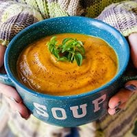 Creamy Fall Harvest Soup In The Instant Pot | Cooler days, cozy sweaters, and comfort foods like... soup! This dairy-free yet creamy Fall Harvest Soup is quick and easy to make in your Instant Pot! With nourishing bone broth for protein and veggies for their antioxidants and minerals, it's a yummy, fall THM:E recipe | TraditionalCookingSchool.com