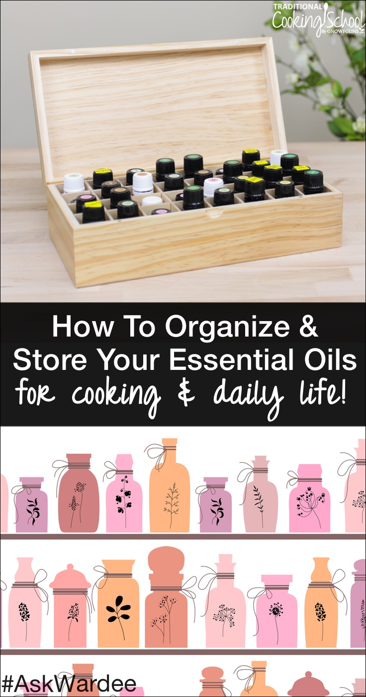 If you plan to use essential oils in your cooking, you want to have them handy, right? Well... the kitchen is NOT the best place to keep your oils! Watch, listen, or read to learn how to organize and store your essential oils to protect your investment and use them for cooking and in daily life!