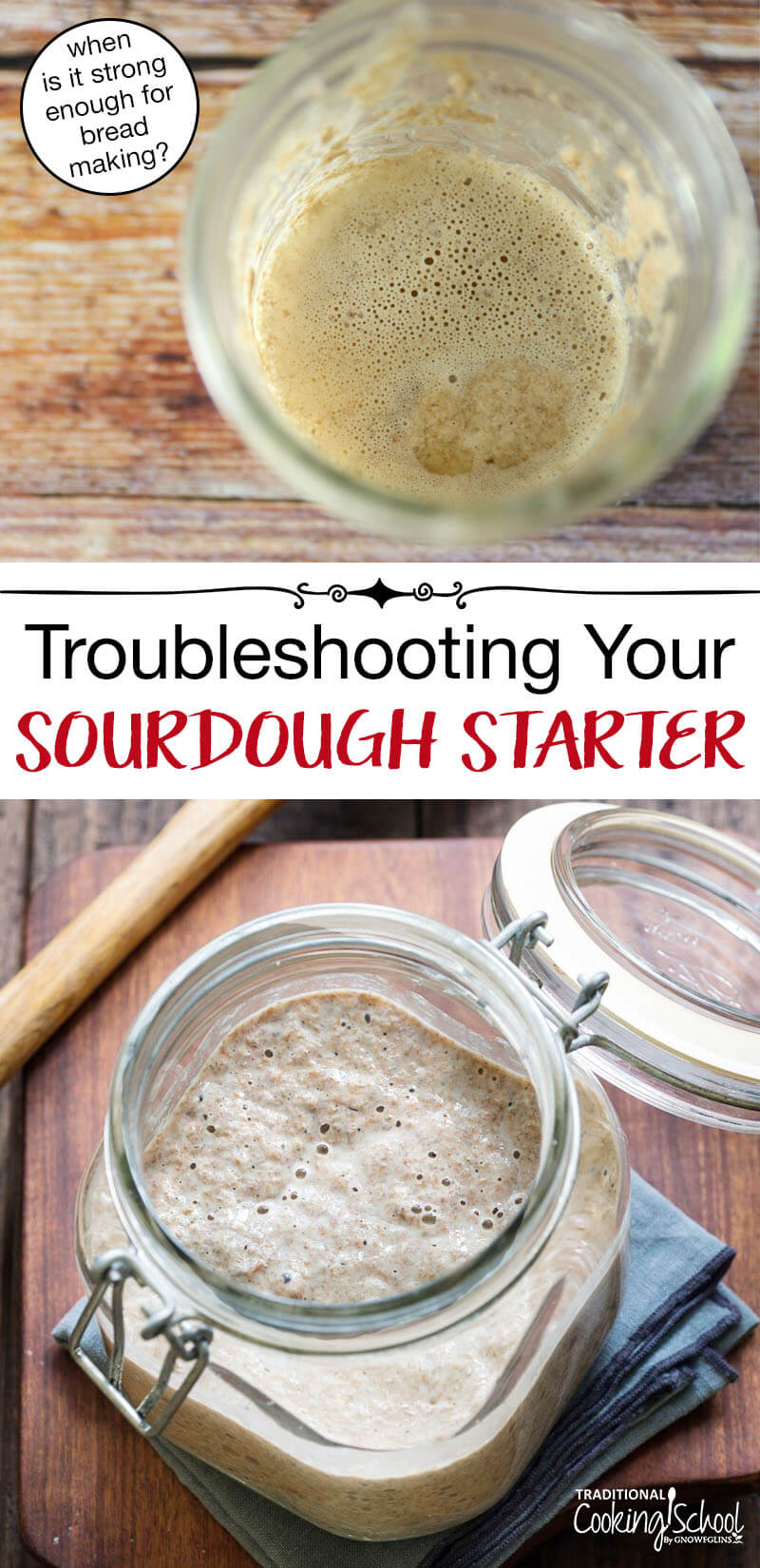 Sourdough Troubleshooting: How To Know When Your Starter Is Strong Enough For Bread-Baking | Have you tried baking sourdough bread time and time again... only to end up with small, dense, hard loaves? Maybe your starter just wasn't ready... Here are some sourdough troubleshooting tips -- and how to know when your starter is strong enough for bread-baking! | TraditionalCookingSchool.com