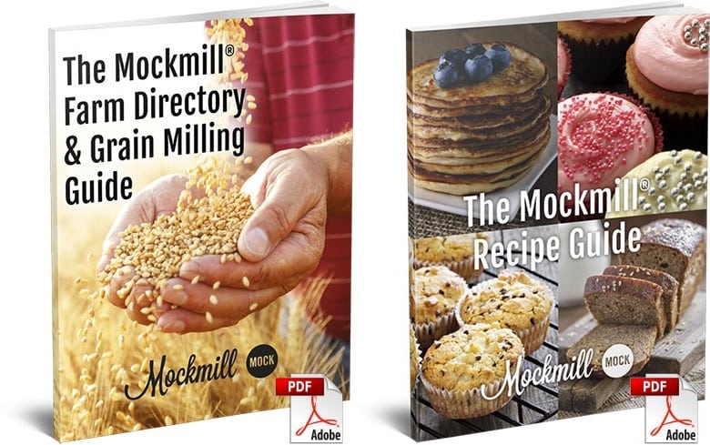 "photo collage of two eBooks: ""The Mockmill Farm Directory & Milling Guide"" and ""The Mockmill Recipe Guide"""
