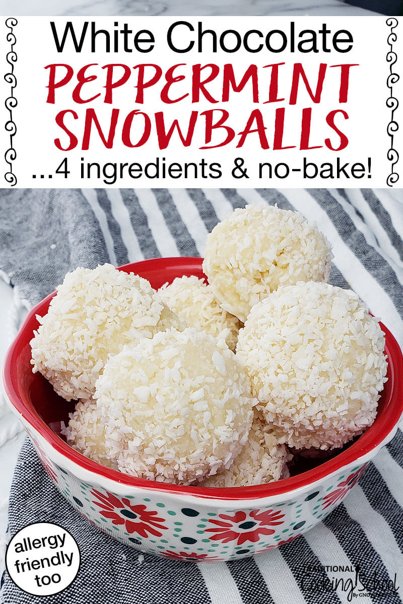With just 4 ingredients and no baking required, you can whip up batch after batch of these Allergy-Friendly White Chocolate Peppermint Snowballs with very little time and effort. They're grain-free, nut-free, dairy-free, egg-free, soy-free, and peanut-free! Just be sure to make plenty... You wouldn't want a snowball fight! ;)