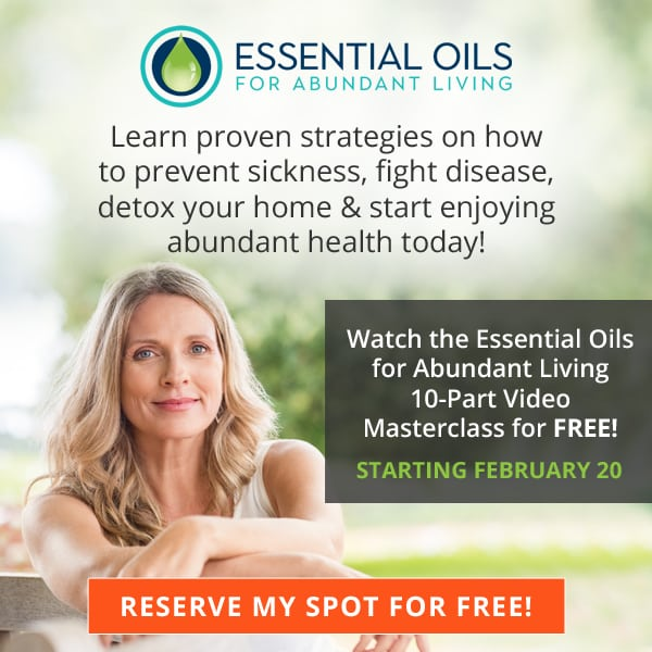 graphic about essential oils class with woman standing at a fence