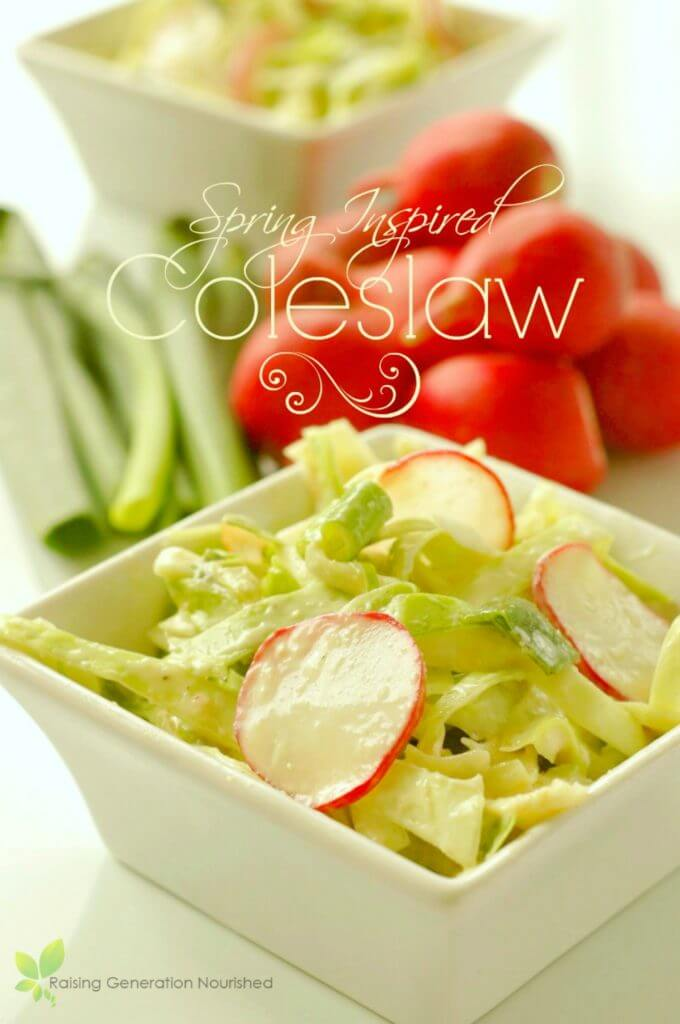 Spring-inspired salad with radishes and green beans in white bowl with white text overlay