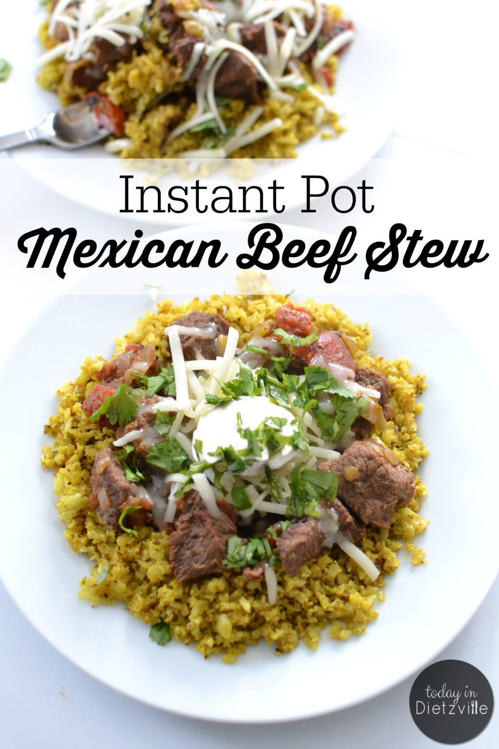instant pot mexican beef stew on white plate topped with sour cream and cilantro