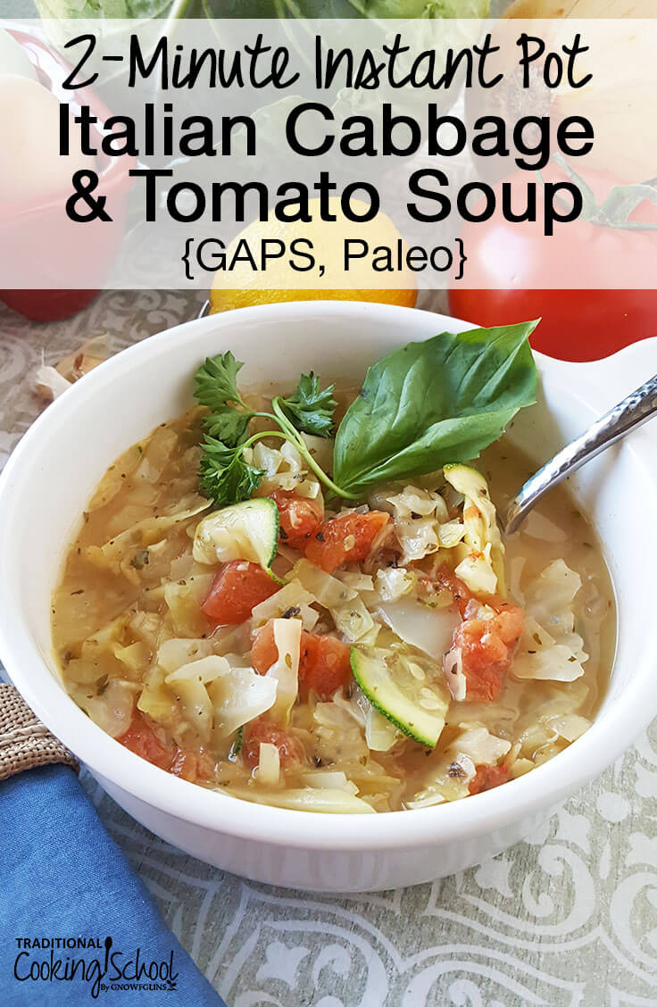 white bowl of vegetable soup with spoon and text overlay