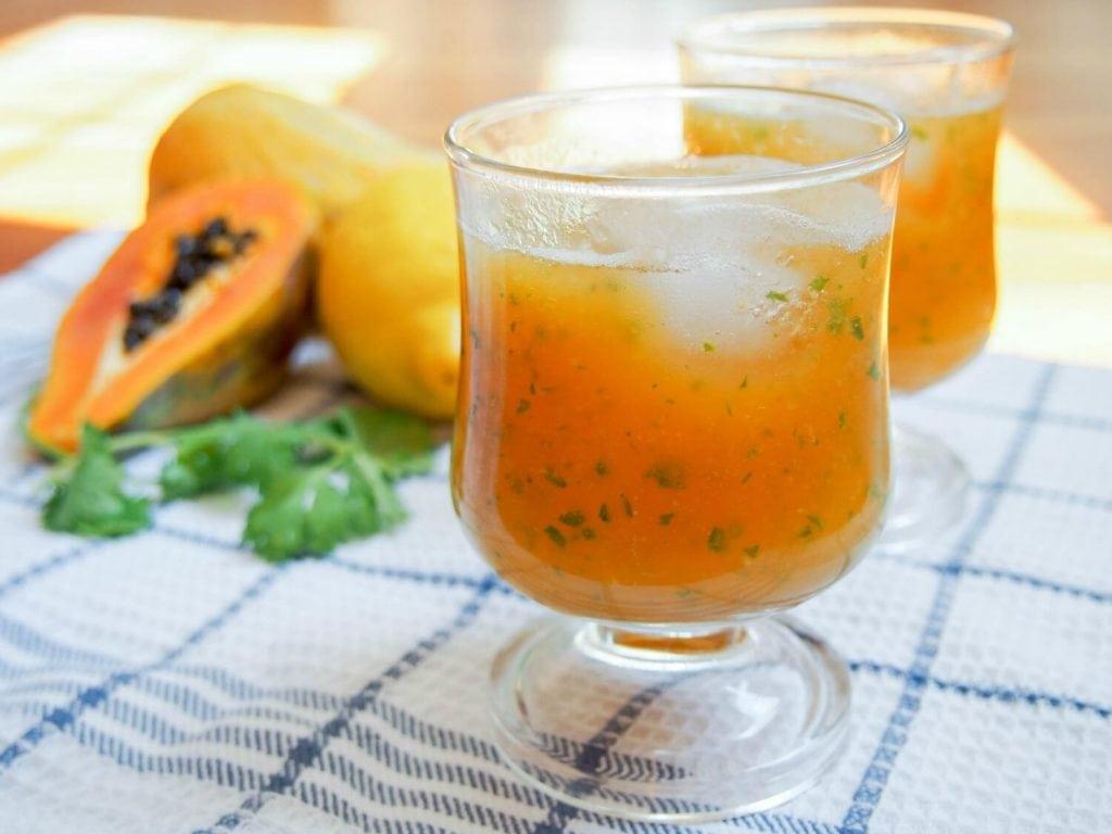 healthy fruit-herb drink of papaya cilantro lemonade