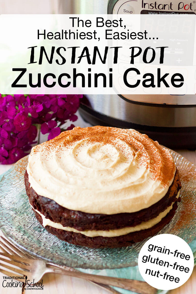 Gorgeous zucchini cake with icing on a glass plate with black text overlay.