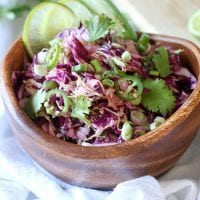 wooden bowl of zesty low-carb jalapeno cabbage coleslaw