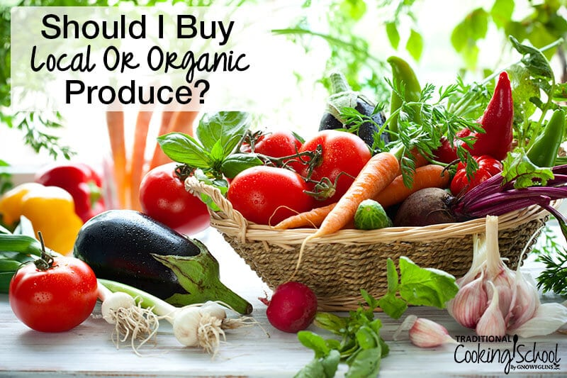basket of beautiful produce with text overlay should i buy local organic produce