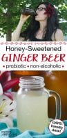 honey-sweetened ginger beer being drunk by dark-haired woman