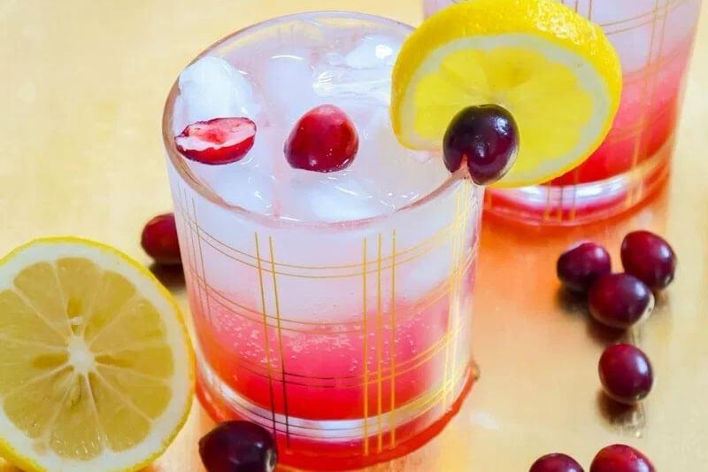 refreshing Italian soda with lemon slices and fresh cranberries