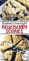 "photo collage of blueberry scones with lavender flowers in the background and text overlay: ""Soaked Overnight Blueberry Scones"""